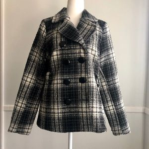 HP 🎉 Maurice's Black Plaid Peacoat